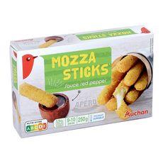 AUCHAN Bâtonnets de mozzarella préfrits sauce poivron rouge 10 pièces 250g