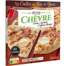 AUCHAN Pizza chèvre et lardons cuite au feu de bois 400g