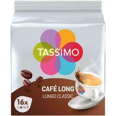 TASSIMO Dosettes de café long lungo classic 16 dosettes 107g