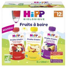 HIPP Gourde dessert aux fruits bio dès 12 mois 8x120ml