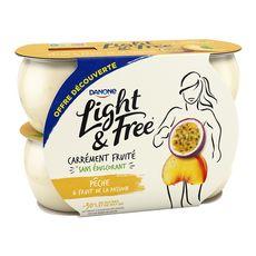 DANONE Light&Free Yaourt à la pêche et fruit de la passion 4x120g