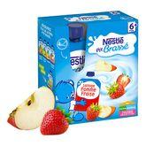 Nestlé ptit brassé gourde lacté pomme fraise 4x90g dès6mois