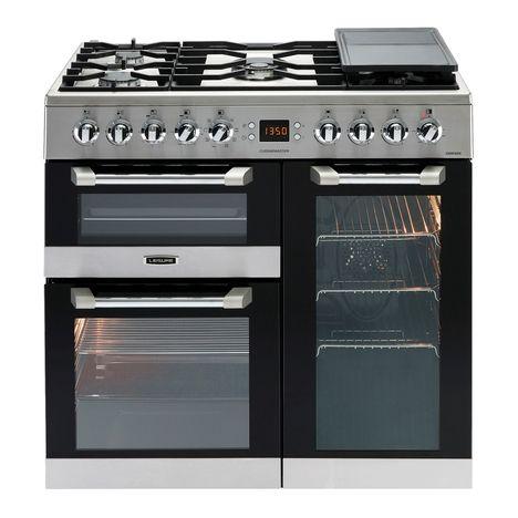 LEISURE Piano de cuisson à gaz CS90F320X, 90 cm, 5 Foyers à gaz dont 1 Wok, 1 four multifonction 3D + 1 four chaleur pulsée + 1 grill