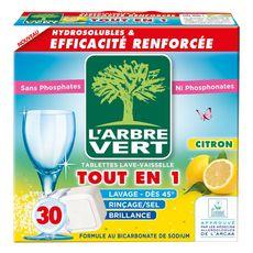 L'ARBRE VERT Tablettes lave-vaisselle écologiques tout-en-1 citron 30 lavages 30 tablettes