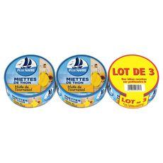 Petit Navire miette de thon huile de tournesol 3x160g