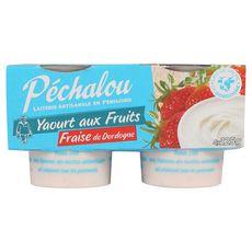 PECHALOU PECHALOU Yaourt brassé à la fraise de Dordogne 4x125g 4x125g 4x125g
