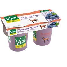 VRAI VRAI Yaourt myrtilles bio au lait de chèvre 2x115g 2x115g 2x115g