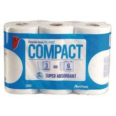 Auchan Essuie-tout blanc compact super absorbant x3