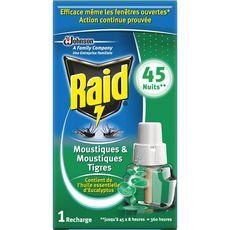 RAID Raid Recharge diffuseur électrique anti-moustiques & moustiques-tigres x1 efficace 45 nuits 1 recharge