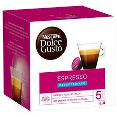 DOLCE GUSTO Capsules de café espresso décaféiné 16 capsules 96g