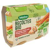 Blédina bio carottes petits pois poulet 2x200g dès 6mois