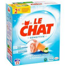 LE CHAT Lessive en poudre sensitive lait d'amande douce & Marseille 25 lavages 1,625kg