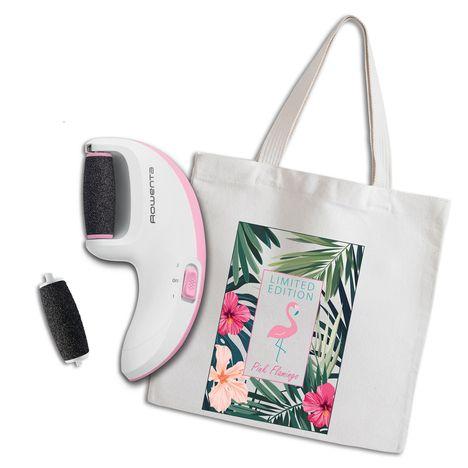 CALOR Râpe électrique pour pieds MP4017C0 + Tote bag Collection Pink Flamingo