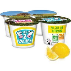 Les 2 Vaches yaourt bio au citron 4x115g