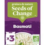 SEEDS OF CHANGE Riz Basmati Certifié Bio Cuisson 10 Minutes 3 Sachets de 125 g