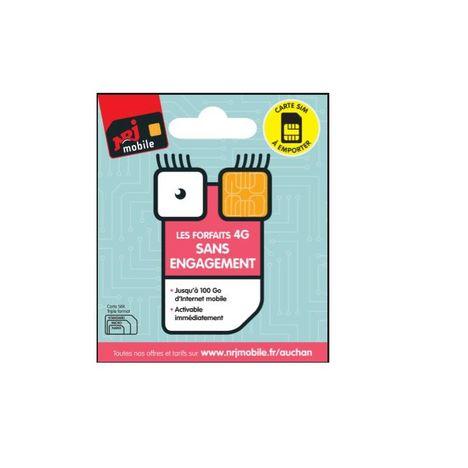 NRJ MOBILE Carte SIM Pour Abonnement SANS ENGAGEMENT