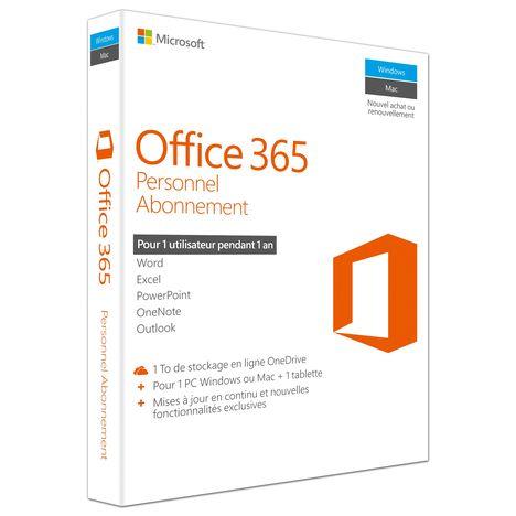 MICROSOFT Logiciel Office 365 Personnel abonnement 1 an