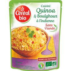 CEREAL BIO Quinoa et boulghour cuisinés à l'indienne sans conservateur en poche 1 personne 220g