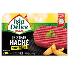 ISLA DELICE Isla Délice Steack haché 100% boeuf halal 800g 10 pièces 800g