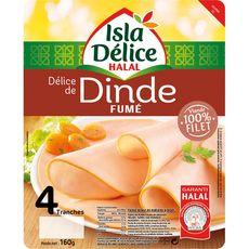 ISLA DELICE Délice de dinde fumé halal 100% filet 4 tranches 160g