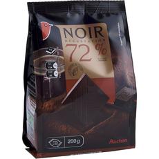 Auchan mini tablettes chocolat noir 72% cacao 200g