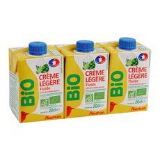 AUCHAN BIO Crème fluide légère 15% UHT 3x20cl