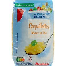 AUCHAN MIEUX VIVRE Coquillettes de maïs et riz sans gluten 500g