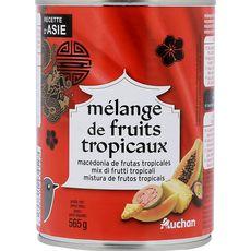 AUCHAN Mélange de fruits tropicaux au sirop léger et au jus de fruit de la passion 580ml