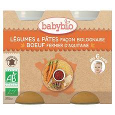 BABYBIO Babybio petit pot bio dès 6 mois légumes et pâtes bolognaise 2x200g 2x200g 400g