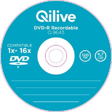 QILIVE Lot de 10 DVD-R Spindle 4.7 GB Q.9643