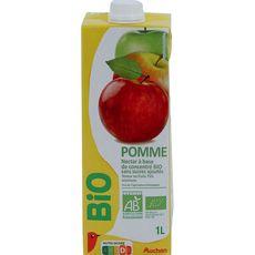 AUCHAN BIO Nectar de pomme sans sucre ajouté brique 75cl