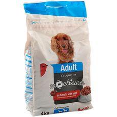 AUCHAN Adult croquettes moelleuses au boeuf pour chien 4kg