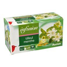 Auchan infusion tilleul menthe sachet x25 -40g