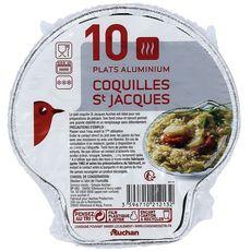 AUCHAN Plats aluminium pour coquilles St Jacques 10 plats