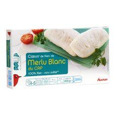 Auchan Coeur de filet de merlu blanc du cap sans arête 400g