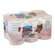 AUCHAN Boîtes patée d'émincés en gélée pour chat 6x400g