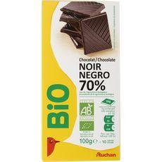 Auchan Bio tablette chocolat 70% de cacao 100g