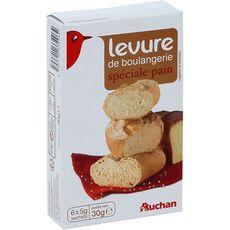 AUCHAN Levure de boulangerie spéciale pain 6 sachets 30g