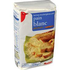 AUCHAN Farine boulangère sans levure pour pain blanc 2,5kg