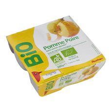 AUCHAN BIO Compote pomme poire sans sucres ajoutés 4x95g