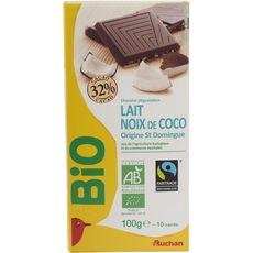 Auchan bio tablette chocolat lait noix de coco 100g