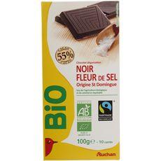Auchan bio chocolat noir 55% fleur de sel 100g