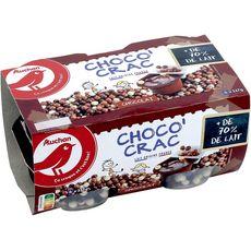 AUCHAN Crème dessert au chocolat et billes croustillantes 4x117g