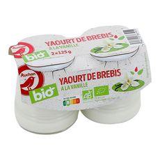 AUCHAN BIO Yaourt arômatisé à la vanille au lait de brebis 2x125g