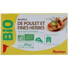 AUCHAN BIO Auchan Bio Bouillon de poulet et fines herbes 80g 8 tablettes 80g