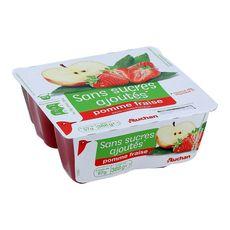 Auchan dessert pomme fraise sans sucre ajouté 4x97g