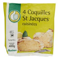 AUCHAN ESSENTIEL Coquille Saint-Jacques cuisinée 4 pièces 400g