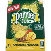 Perrier eau gazeuse aromatisée juice ananas mangue 4x25cl