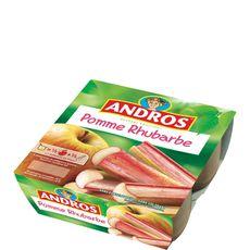 Andros dessert fruit pomme rhubarbe 4x100g