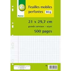 Auchan Feuilles mobiles perforées 21x29,7cm x500 80g